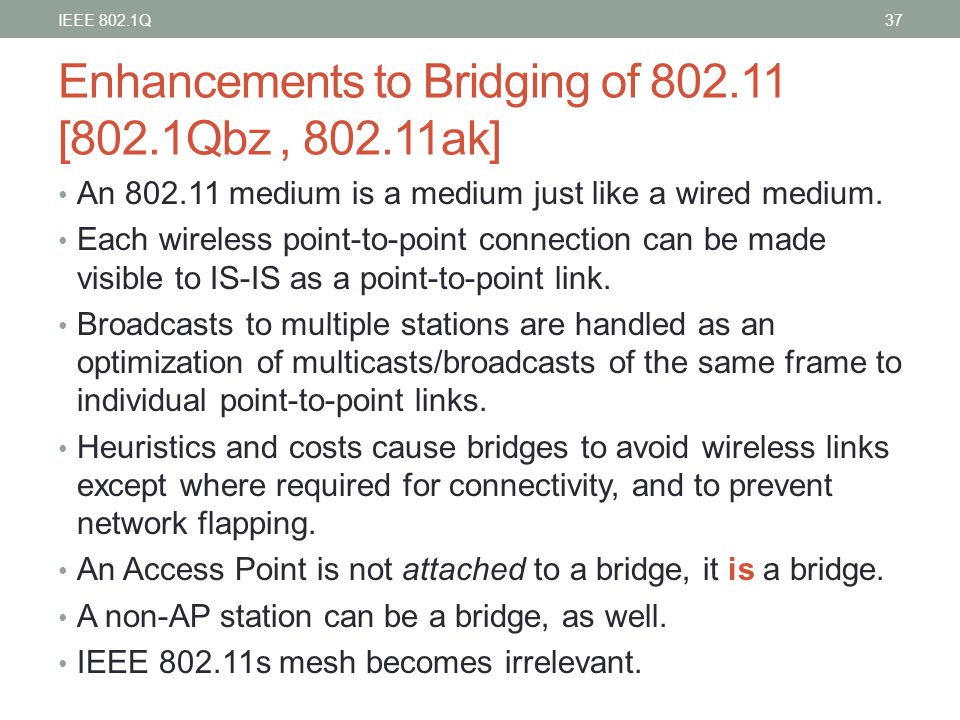 Enhancements to Bridging of 802.11 [802.1Qbz , 802.11ak]